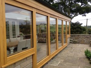 Oak effect Accoya wood conservatory outside view