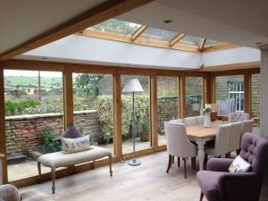 Oak effect Accoya wood conservatory inside view