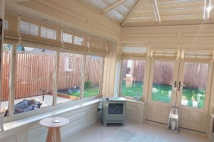 Inside a modern timber orangery