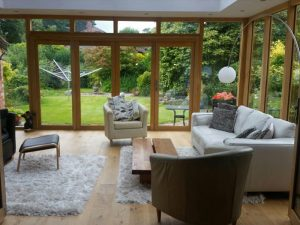 The inside view of an Accoya wood orangery