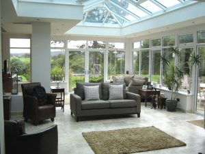 White timber orangery inside view