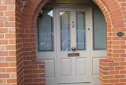 Timber front door in duck egg blue