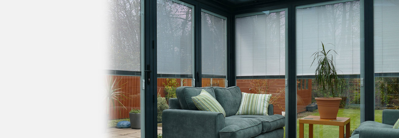 Black windows with integrated blinds
