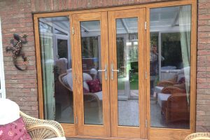 Accoya wood oak effect French doors