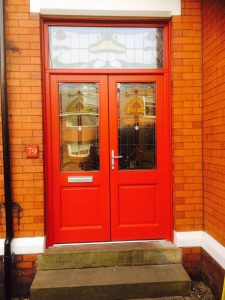 Red uPVC French doors