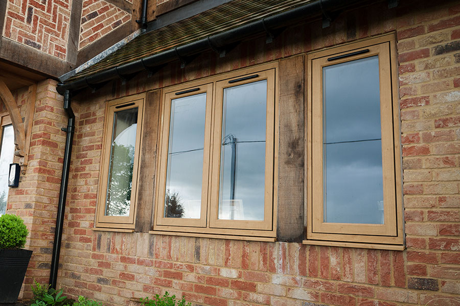 Oak effect flush sash window