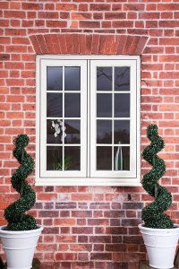 White flush sash window