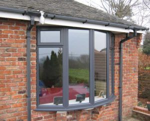 Grey uPVC bay window