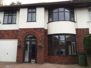 Grey white uPVC windows