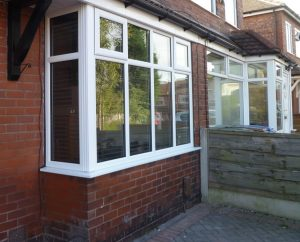 White uPVC box bay window