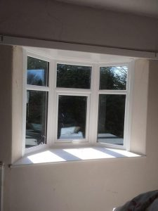 White uPVC bay casement window