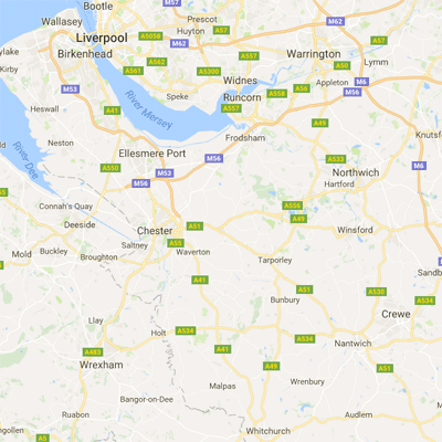 Map of Cheshire where we have installed thousands of windows and doors
