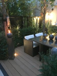 Coppered oak decking and garden table