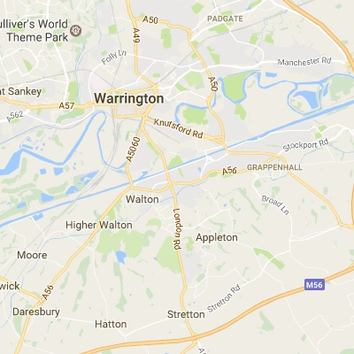 Map of Warrington where we have installed thousands of windows and doors