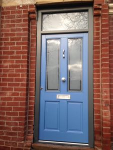 Blue accoya wood door