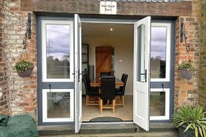 Open accoya wood French door