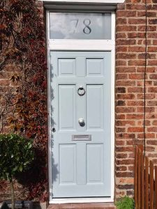 Sandblasted accoya wood door