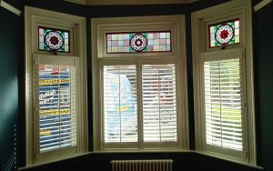 Accoya wood window with stained glass