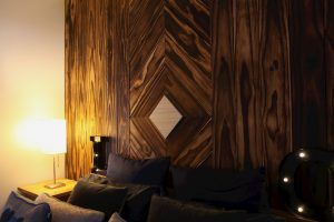 Charred accoya wood feature wall