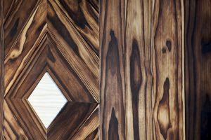 Accoya wood wall with a triangle design