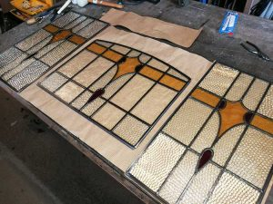 Stained glass window in the making