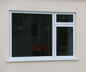 aluminium windows in white outside view