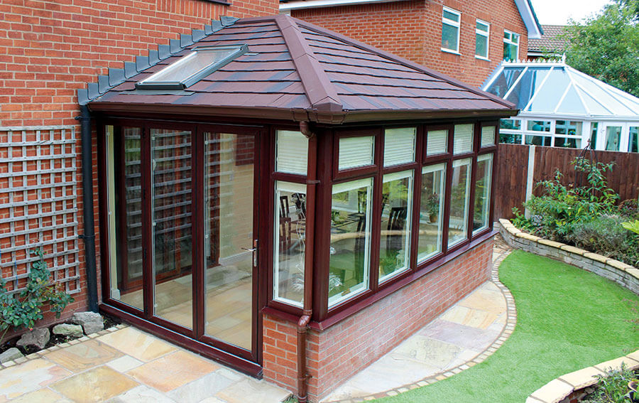 Supalite tiled conservatory wood effect roof
