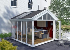 Ultraframe tiled roof with glass panels