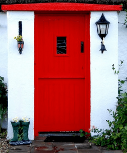 timber stable front door in red