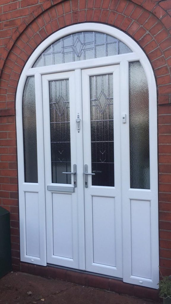 uPVC french front doors with side panels