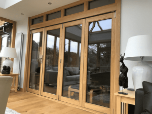 Accoya wood oak effect bifold doors