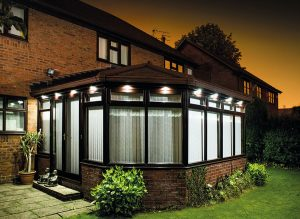 Supalite tiled conservatory roof at night