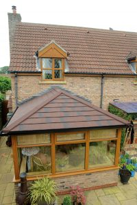 Supalite tiled conservatory roof tiles brown