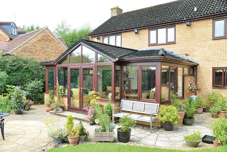 Supalite tiled conservatory roof tiles brown garden