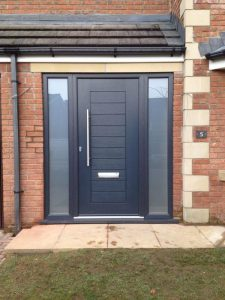 Black composite door with sidelights