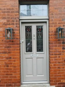 Grey decorative composite door