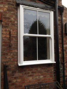 White Timber Sliding Sash Window