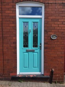 Turquoise blue safeguard composite door