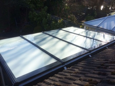 satin glass conservatory roof