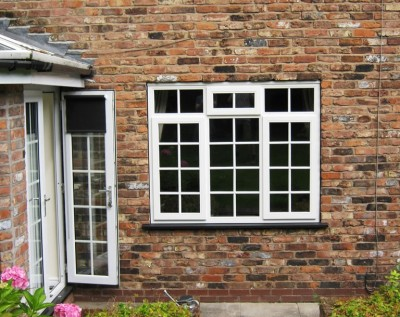 White square leaded windows