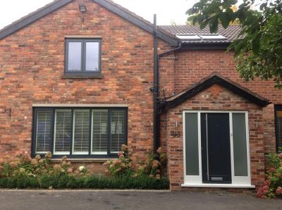 grey white accoya windows front