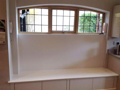 timber arched window with seat